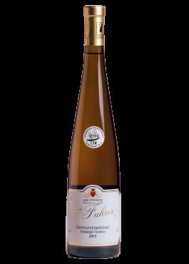 Bouteille de Gewurztraminer Vendanges Tardives, vin liquoreux.